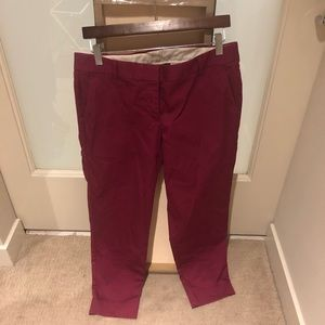 J. Crew Pink Stretch Crop Pants